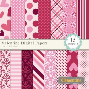 Valentine scrapbook paper 12x12, digital scrapbooking paper