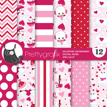 Valentine snowman papers, commercial use, scrapbook papers