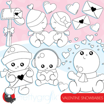 Valentine snowmen stamps commercial use, vector graphics,