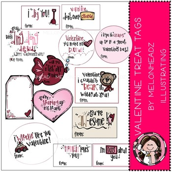 Valentine treat tags by Melonheadz COMBO PACK