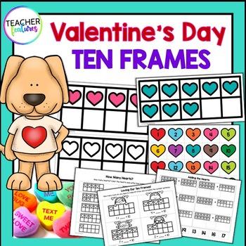 Valentine's Day Ten Frames- 20 Cards plus Worksheets