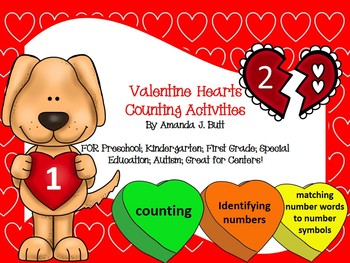 Valentine's Candy Heart Math Centers - Counting, Numbers;