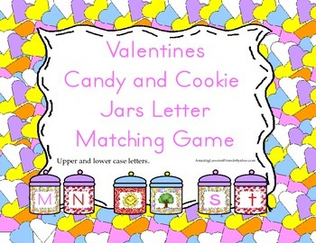 Valentines Candy and Cookie Jars Letter Matching Game