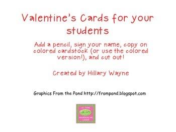 Valentine's Cards from Teacher