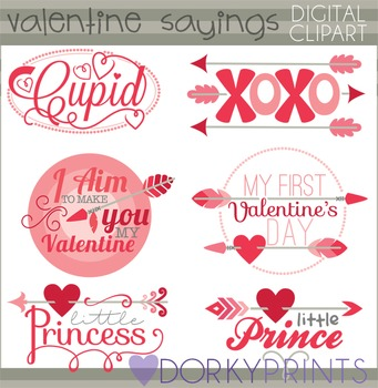 Valentines Clip Art - Arrow Valentine Sayings Clipart