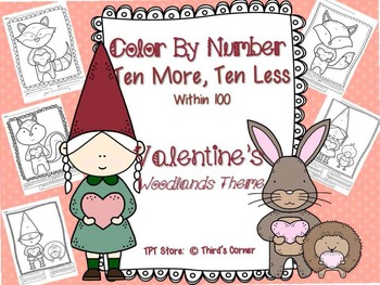 Valentine's Color By Number Ten More, Ten Less - Woodland's Theme
