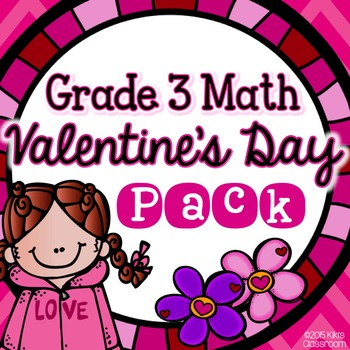 Valentine's Day Math 3rd Grade - Print & Go Pack