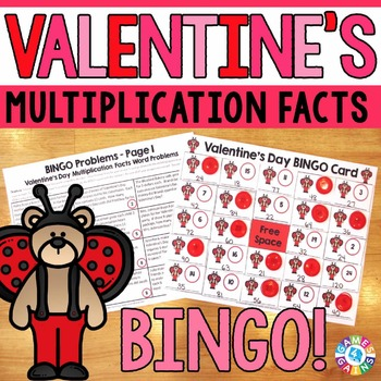 Valentine's Day Math Game: Multiplication Facts Word Probl