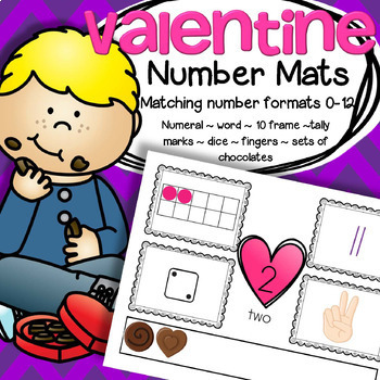 Valentine's Day Number Mats Center 0-12 plus Cut and Paste