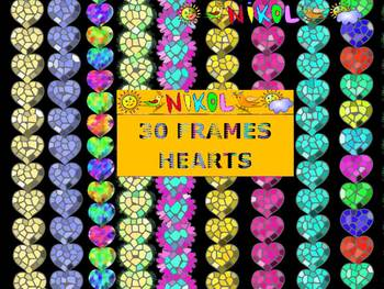 Glitter Frames - Hearts - Clip Art - Personal or Commercial Use
