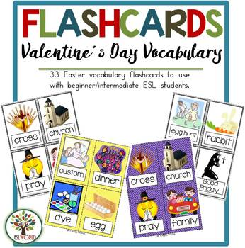 Valentine's Day {44 Flashcards & Games} ESL Adults & Grades 4-6