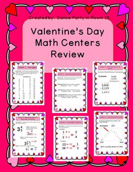 Valentine's Day 4th Grade Math Centers (6 centers complete