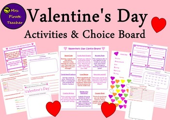 Valentine's Day Activities and Choice Board