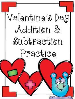 Valentine's Day Addition & Subtraction Practice