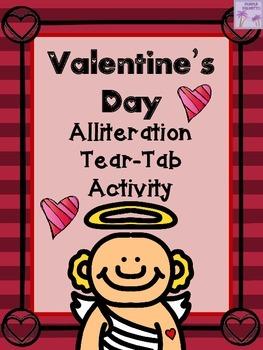 Valentine's Day Alliteration Tear-Tab Activity
