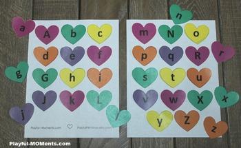 Valentine's Day Alphabet Matching Activity Heart Shape Gam