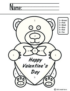 Valentine's Day Bear - Color By Number