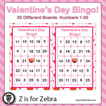Valentine's Day Bingo - 30 Different Boards, Numbers, Toke