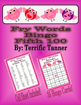 Valentine's Day Bingo with Fry's Fifth 100 Words