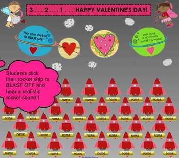 """""""Valentine's Day Blast Off"""" SMART Board Attendance Activit"""