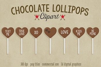 Valentine's Day Candy Clipart, 7 Chocolate Sentiment Lollipops