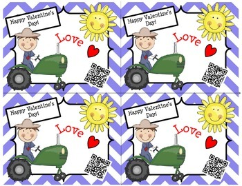 Valentine's Day Cards (Tractor/Chevron) with a Fun QR Code