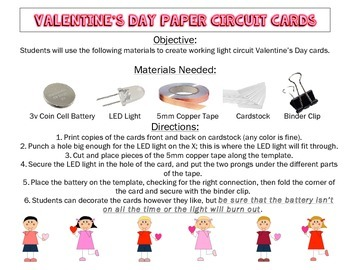 Valentine's Day Cards with Paper Light Circuits