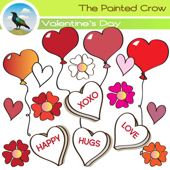 Valentines Day Clip Art - Flowers + Balloons + Hearts Clip