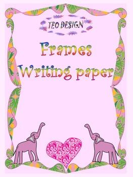 Elephants - Frames - Writing paper - Hearts - Clip Art - V