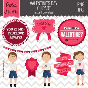 Valentine's Day Clipart // Valentine's Day Sayings // Hear