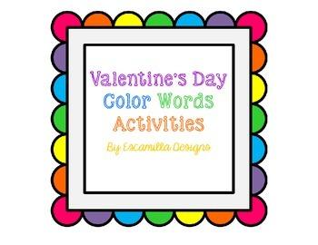 Valentine's Day Color Words Activities