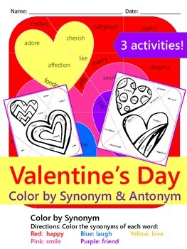 Valentine's Day Color by Synonyms & Antonyms {3 NO PREP Ac