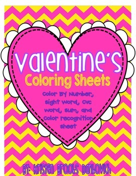 Valentine's Day Coloring (Color by: SW, Number, Sum, CVC w