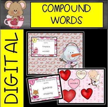 Valentine's Day Compound Word Task Cards
