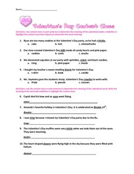 Valentine's Day Context Clues with Sentences