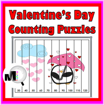 Counting Puzzles & Skip Counting - Valentine's Day Math -