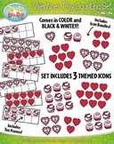Valentine's Day Counting and Ten Frames Math Clipart Set —