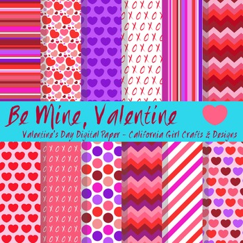 Valentines Day Digital Paper and Backgrounds