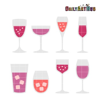 Valentines Day Drinks Clip Art - Great for Art Class Projects!