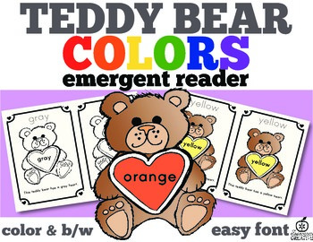 Valentine's Day Emergent Reader: Teddy Bear Color Words