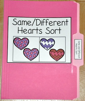 """Valentine's Day File Folder Game--""""Same and Different Hear"""
