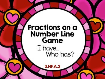 Valentine's Day Fractions on a Number Line I Have Who Has Game