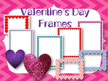 Valentine's Day Frames and Glitter Hearts