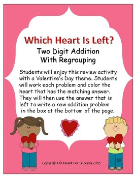 Valentine's Day: Which Heart Is Left? (Two Digit Addition