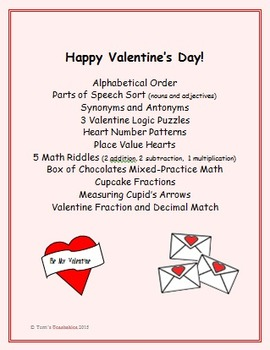 Valentine's Day Fun - synonym and antonym, logic puzzles,