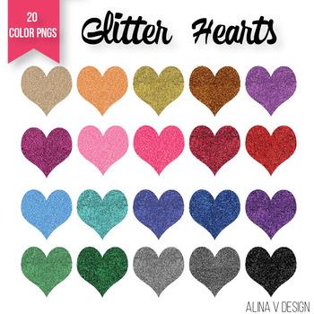 Valentines Day Glitter Hearts | Rainbow Glitter Hearts Cli