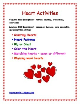 Valentines Day Heart Activities - Cognitive & Language Dev