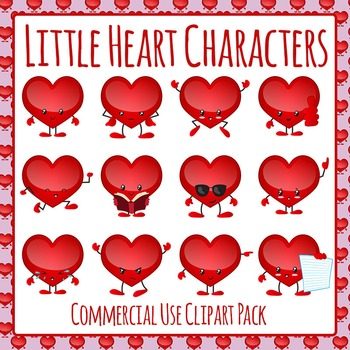 Valentines Day Heart Characters Clip Art Pack for Commercial Use