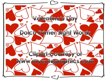 Valentine's Day Heart Primer Dolch Sight Words