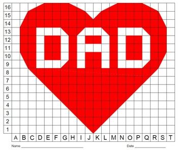 Valentine's Day Heart with Dad, Father's Day, Color Grid